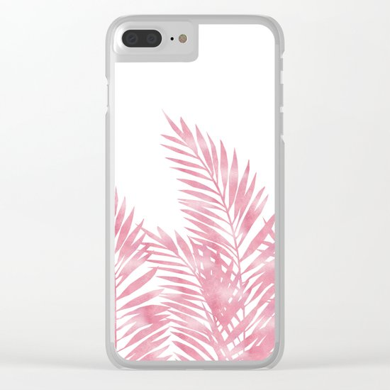Palm Leaves Pink Clear iPhone Case
