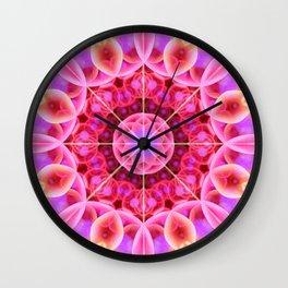 Pink and Violet Healing Mandala Wall Clock