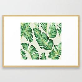 Banana leaves in pastel colours Framed Art Print