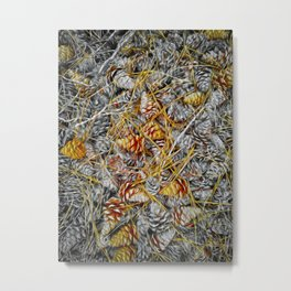 Pine Cones Forest Natural Pattern Metal Print