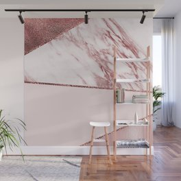 Spliced mixed pinks rose gold marble Wall Mural