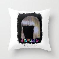 sia Throw Pillows featuring SIA by Melina Espinoza