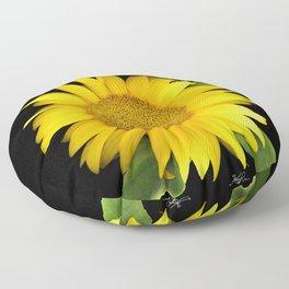 Summer Yellow Sunflower, Scanography Art, Flowers Floor Pillow