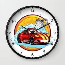 Funny cartoon Car wash  Wall Clock