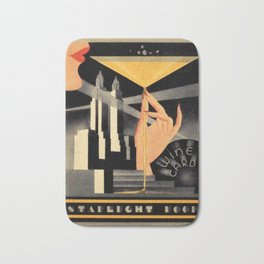 1930's Waldorf Astoria Hotel NYC The Starlight Roof, Champagne Wine Card Vintage Poster Bath Mat