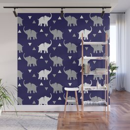 Elephants & Triangles - Navy Blue / Gray / White Wall Mural