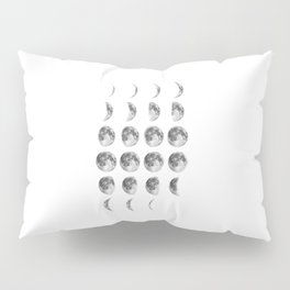 Full Moon cycle print black-white photograph new lunar eclipse poster bedroom home wall decor Pillow Sham
