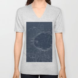 Crater Lake Blueprint Map Design Unisex V-Neck
