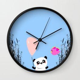 Cute Panda and Bird Wall Clock