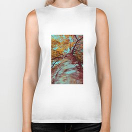 Old big tree in copper and turquoise Biker Tank
