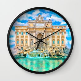 Trevi Fountain - Landmark Rome - La Dolce Vita Wall Clock