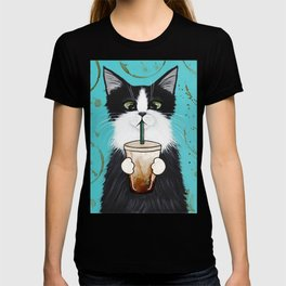 Tuxedo Cat With Iced Coffee T-shirt