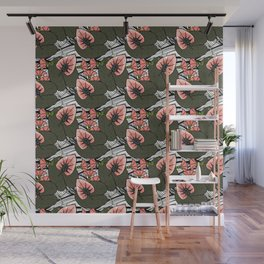Pattern of African flowers and plants Wall Mural
