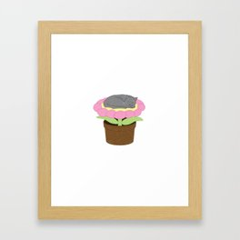 Flower Bed Kitty Framed Art Print