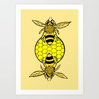 bees Art Prints featuring Bees by Chelsey Hamilton