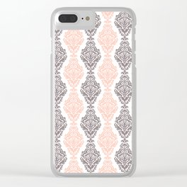Pink Purple Damask Clear iPhone Case