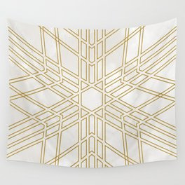 Golden stars on cream marble Wall Tapestry
