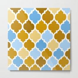 MOROCCAN BROWN AND BLUE DESIGN Metal Print