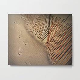 Footprints on the Beach by the Sand Fence Metal Print
