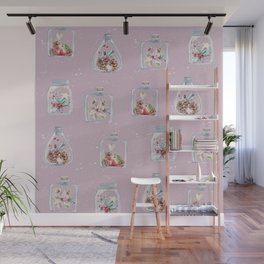 Christmas Pattern Pink Wall Mural