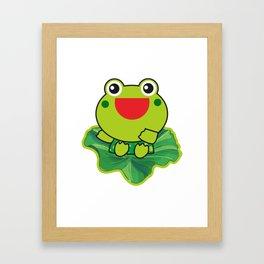 cute happy kero kerompa frog frogy Framed Art Print
