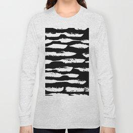 Paint Swipe White on Black Long Sleeve T-shirt
