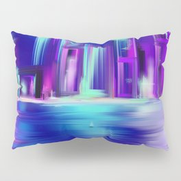 Cityscape Blue Purple town by night  Sea   Light Pillow Sham