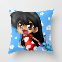 lilo and stitch Throw Pillows featuring Lilo and Stitch (chibi) by HaruShadows