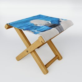 Enticing Interlude. Illustrated for Author Michelle Mankin. Girl Sunset Blue Blonde Sky Folding Stool