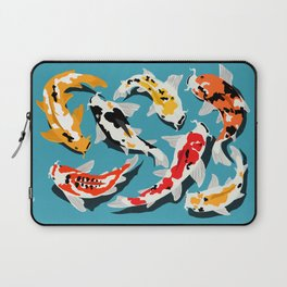 Colorful Koi Carps Swimming Around Laptop Sleeve