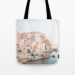 Positano, Italy Amalfi coast pink-peach-white travel photography in hd Tote Bag