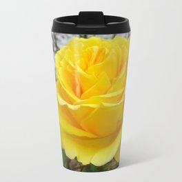 Beautiful Yellow Rose with Natural Garden Background Travel Mug