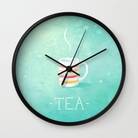 tea Wall Clocks featuring Tea by Freeminds