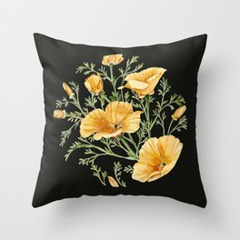 California Poppies on Charcoal Black Throw Pillow