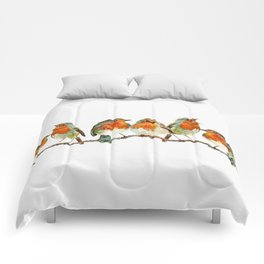 A row of singing Robins Comforters
