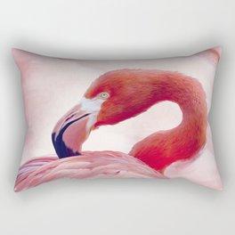 Flamingo portrait watercolor digital painting Rectangular Pillow