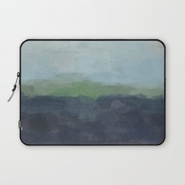 Navy Teal Aqua Sky Blue Green Abstract Wall Art, Painting Art, Nature Horizon, Modern Wall Laptop Sleeve