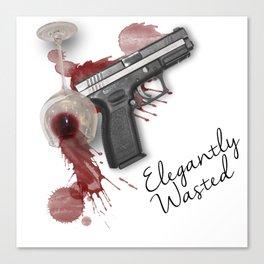 Elegantly Wasted: Gun & Spilled Wine Canvas Print