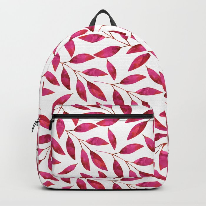 Watercolor Leaf allover Pattern pink red Backpack