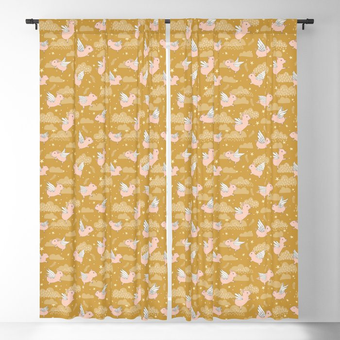 When Pigs Fly in Gold Blackout Curtain