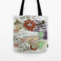 fear and loathing Tote Bags featuring Fear and Loathing Print by Just Bailey Designs