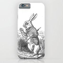 Vintage Alice in Wonderland the White Rabbit emo goth antique book drawing sketch art print iPhone Case