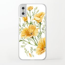 California Poppies - Watercolor Painting Clear iPhone Case