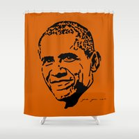 obama Shower Curtains featuring Obama by Cushy Diplomacy