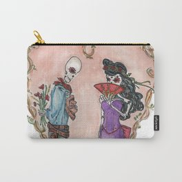 Day of the Dead sugar skulls Dead Lovers in a floral heart Carry-All Pouch