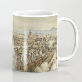 Vintage Pictorial Map of Puebla Mexico (1869) Coffee Mug