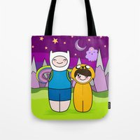 finn and jake Tote Bags featuring Kokeshis Finn&Jake by Pendientera