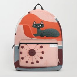 Midcentury Coral Decor With Black Cat And Gold Fish Backpack