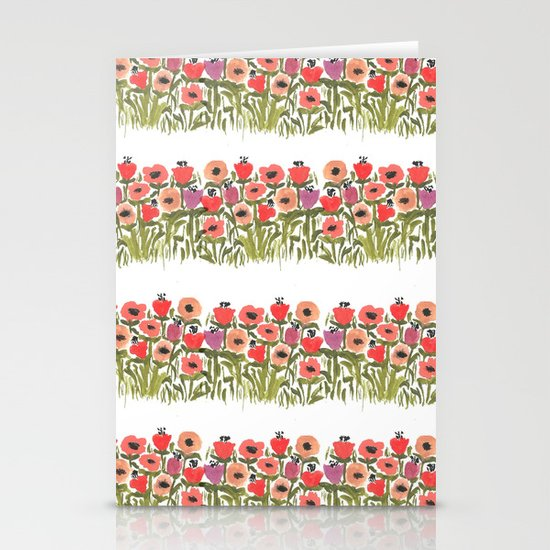 Flower stripe garden Stationery Cards