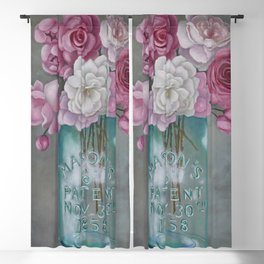 Antique Mason Jar Number 6 1858 with Pink Roses Blackout Curtain